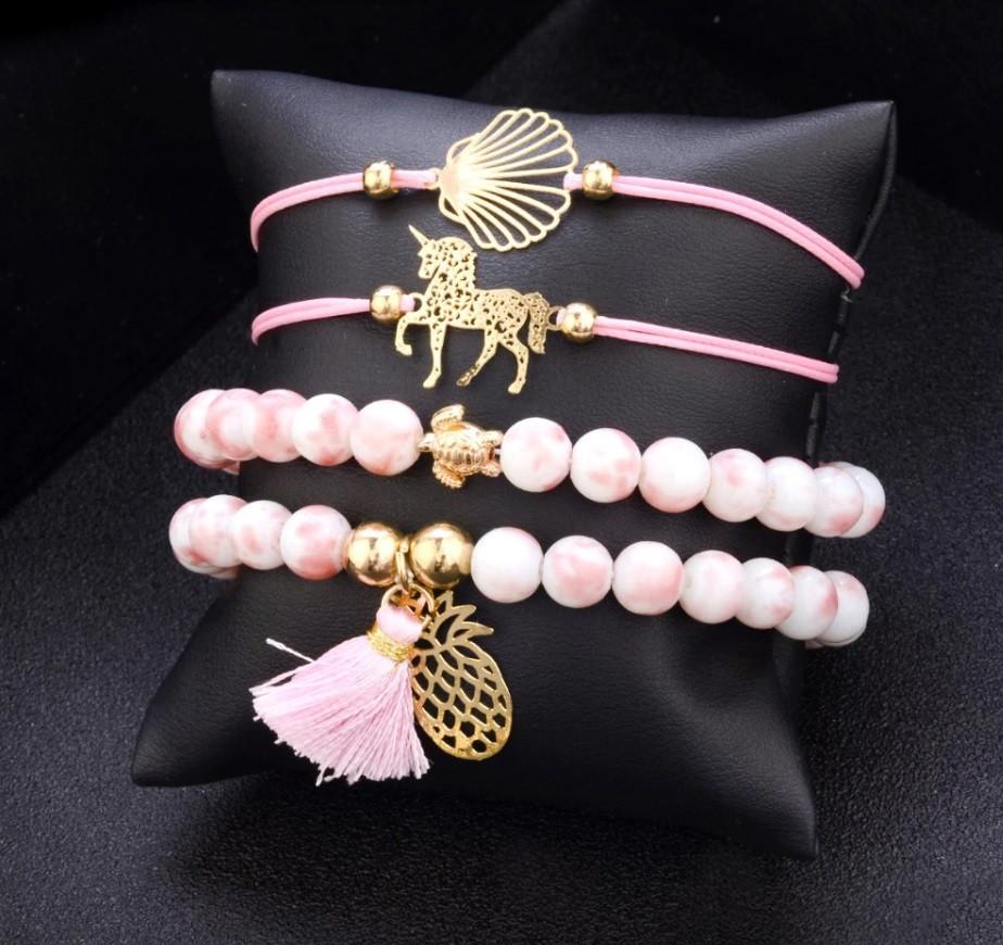 """Комплект браслетов на руку """" RINHOO"""" 4 шт. цвет розовый"""