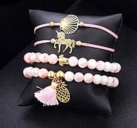"""Комплект браслетов на руку """" RINHOO"""" 4 шт. цвет розовый, фото 1"""
