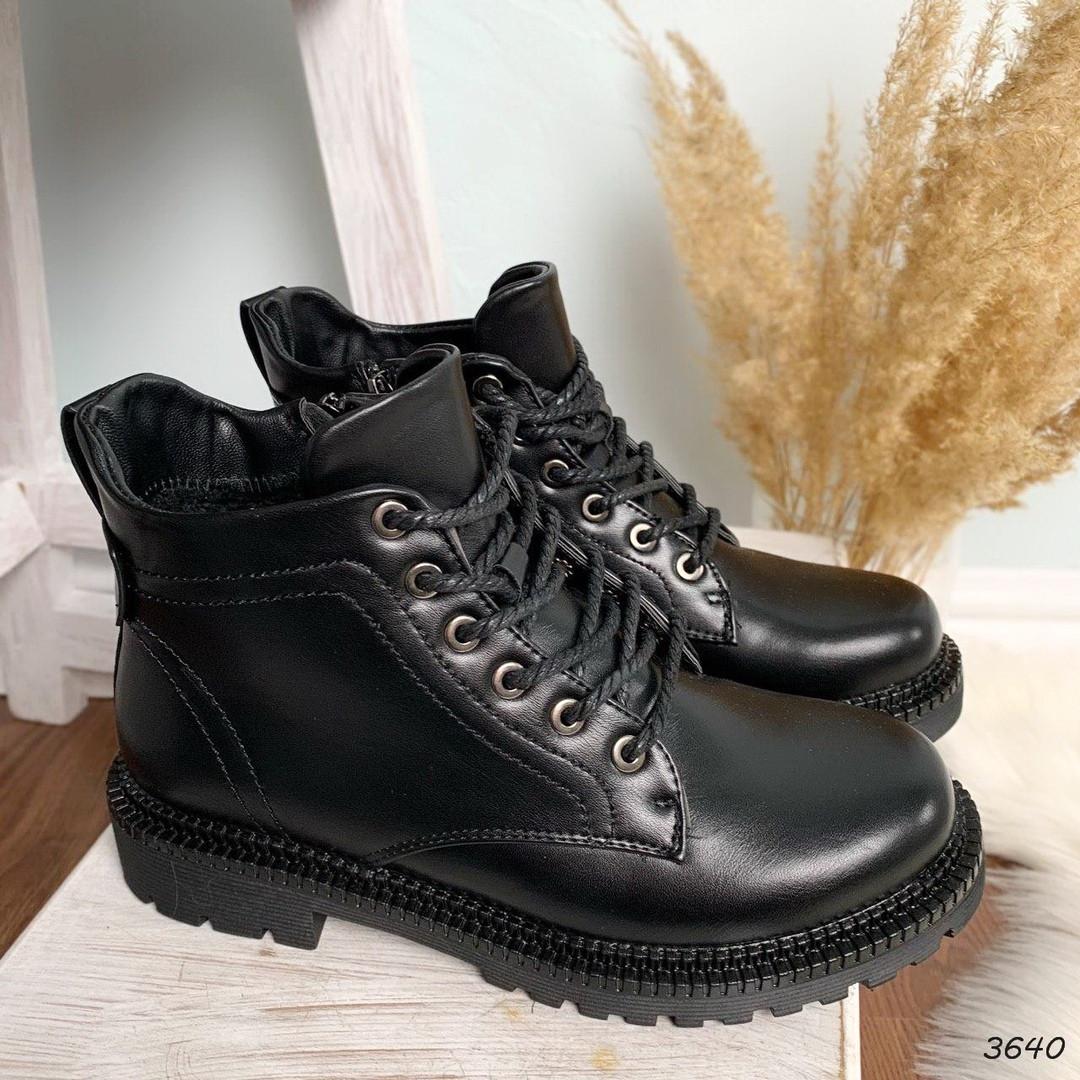 Ботинки женские черные зимние эко кожа 11\3640