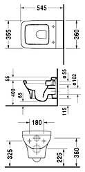 PURAVIDA унитаз подвесной 36*54,5 см DURAVIT 2219090000