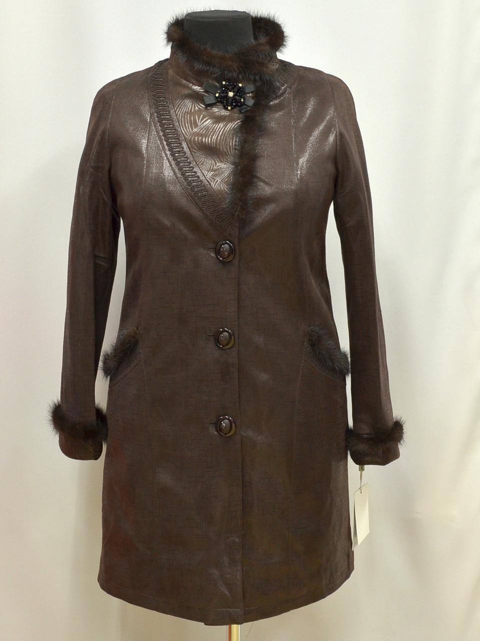 Элегантное полупальто из лазерного спандекса Леди Шарм с норкой 12585  50  коричневый