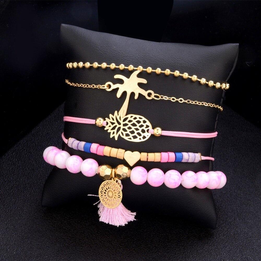 """Комплект браслетов на руку """" RINHOO"""" 5 шт. цвет розовый"""