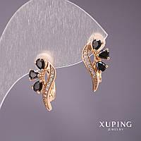 Серьги женские оригинальные модные золотистые с черным цирконои 17*9 мм Xuping Mir-34019