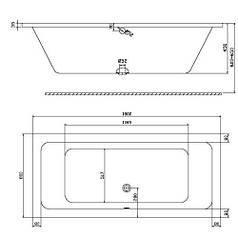 Прямоугольная ванна, 180x80 см, центральный слив + ножки SN7 KOLO XWP1181000 Modo