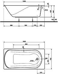 COMFORT ванна прямоугольная 150*75 см, с ножками SN7 XWP3050000
