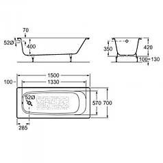 CONTINENTAL ванна 150*70см в комплекте с ножками ROCA A21291300R+A150412330