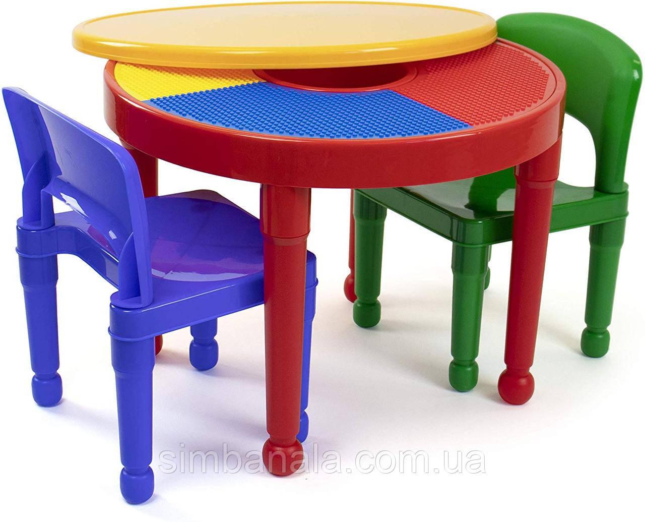 Круглый детский столик 2в1 для творчества и игр с Лего, Tot Tutors США