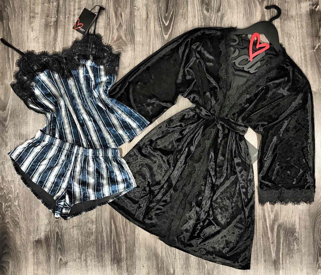 Халат+пижама ( майка и шорты)- велюровый комплект для сна и дома.
