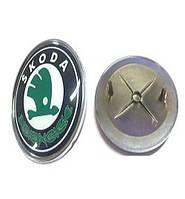 Эмблема Skoda 2 пукли 75мм пластик передняя