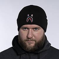 Шапка чоловіча зимова тепла якісна чорна Bape, фото 1