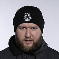 Шапка чоловіча зимова тепла якісна чорна Anti Social Social Club, білий логотип, фото 1