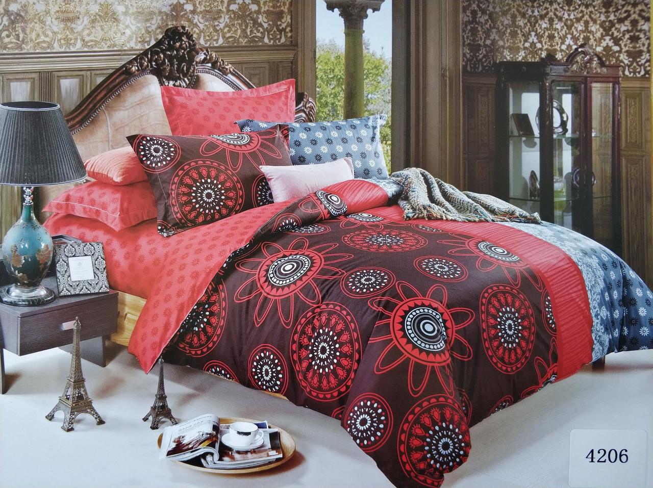 Сатиновое постельное белье семейное ELWAY 4206 «Абстракция»
