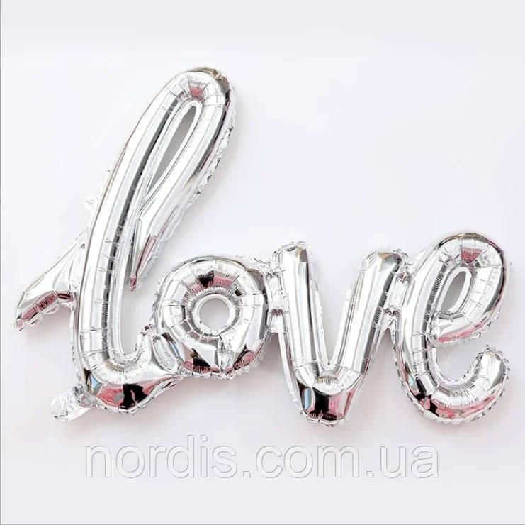 Фольгированный шарик LOVE серебряный (1 метр)