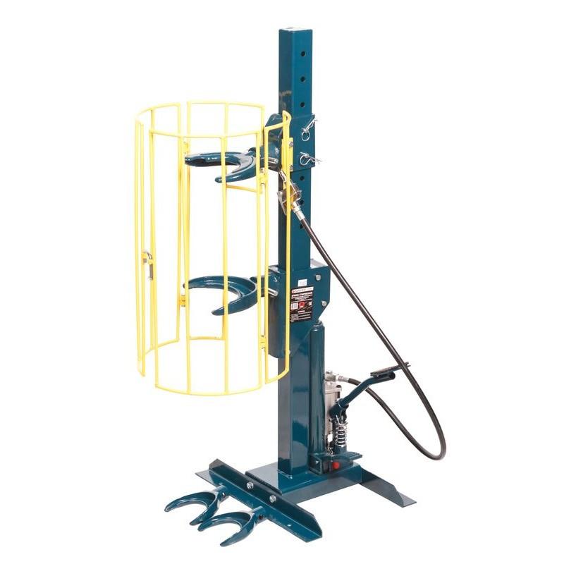 Стяжка пружин пневмогидравлическая напольная с навесным защитным каркасом и двумя комплектами