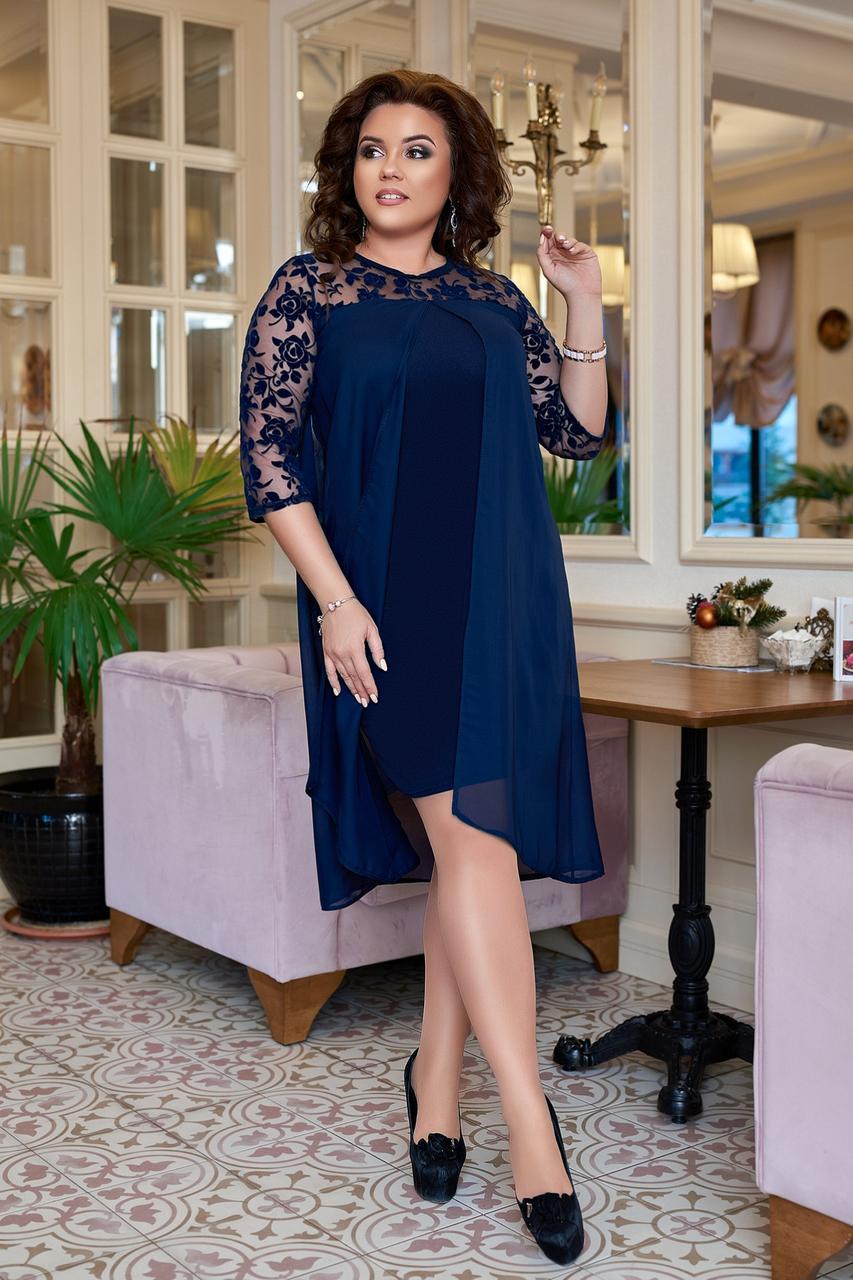 Нарядное женское платье с шифоновой накидкой Размер 50 52 54 56 58 60 В наличии  3 цвета