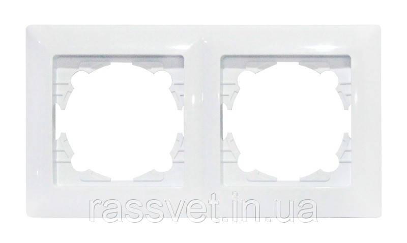 Рамка 2-ная  белая TINA