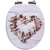 Сиденье для унитаза с микролифтом Natural style, стульчак Shells, фото 3