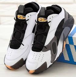 Мужские кроссовки Adidas Streetball White Gray белые с серым. Фото в живую. Реплика