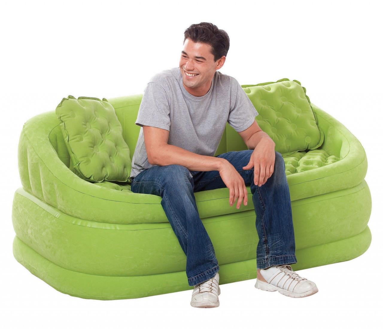 Надувной диван Intex 68573 + 2 подушки 157 х 86 х 69 см Зеленый (int68573_2)
