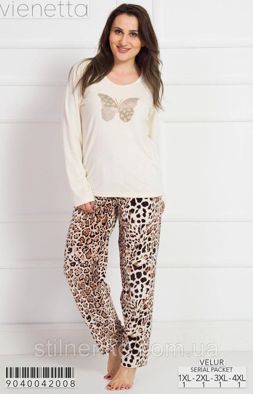 Велюровый костюм женский принт леопард
