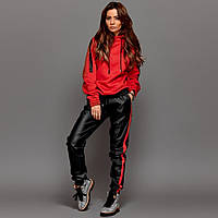 Женский спортивный костюм с лампасами красный, фото 1