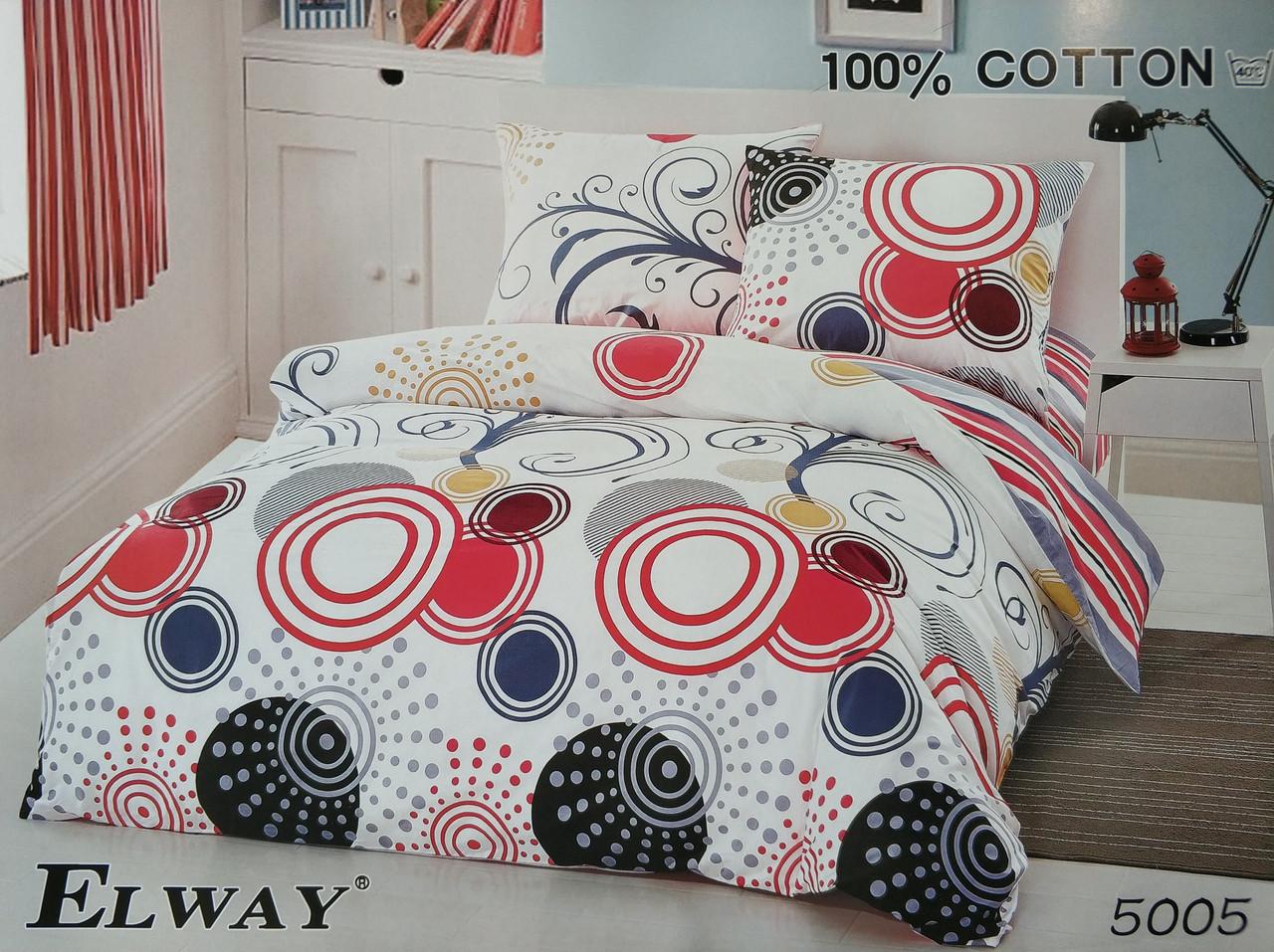 Сатиновое постельное белье семейное ELWAY 5005 «Абстракция»