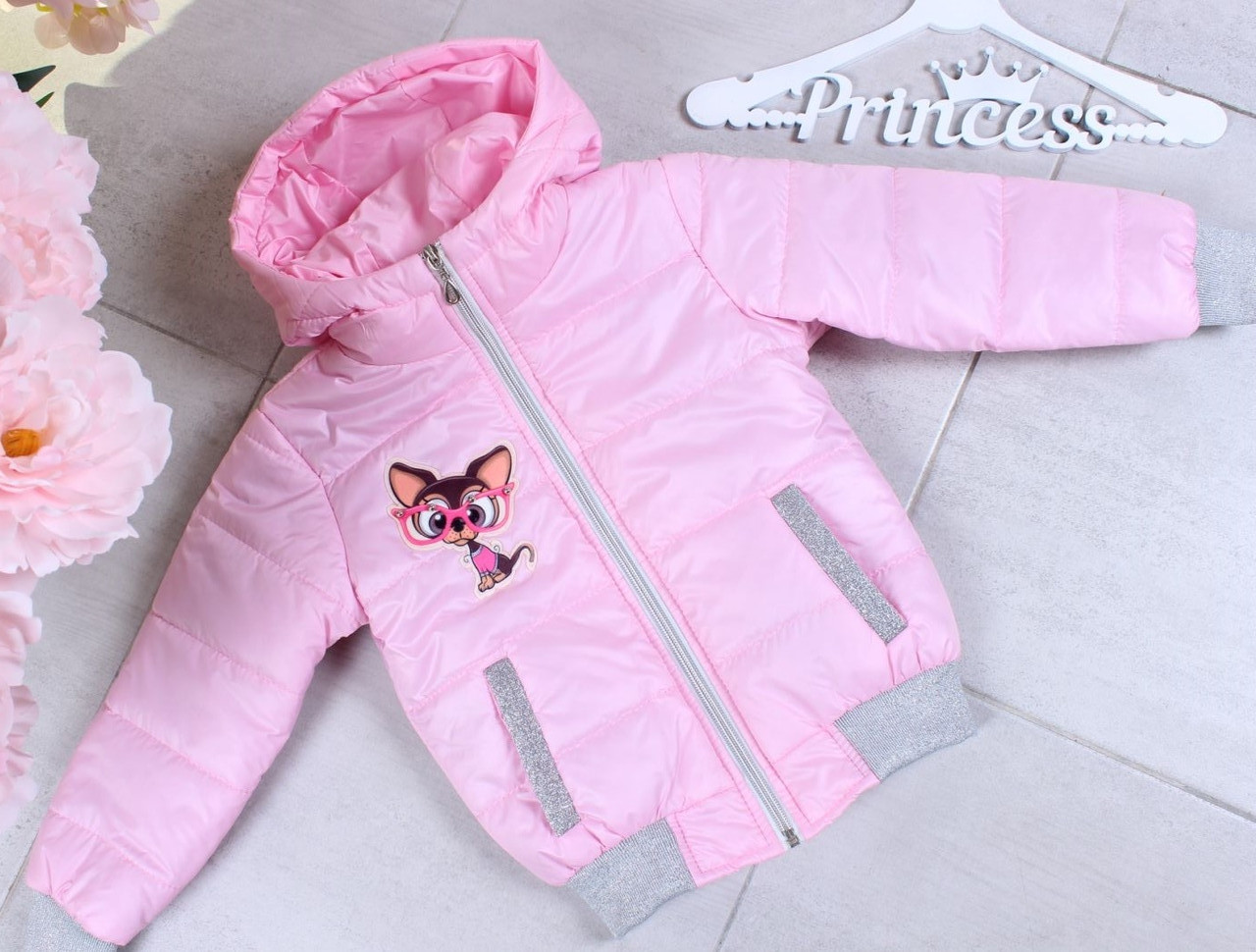 Куртка демисезонная #45455 с 3д рисунком для девочек 3-4-5-6-7-8 лет (98-128 см). Светло-розовая. Оптом