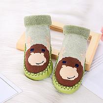 Носки - чешки махровые детские Зеленые с оленем