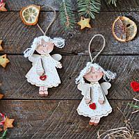 Деревянные игрушки на елку - Белые ангелочки
