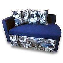 Диван дитячий Шпех Принт Сірий 80см (Основа синій) . Диванчик зі спальним місцем 2 метри