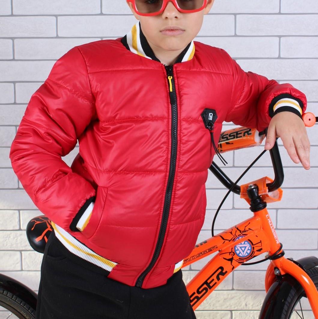 Куртка-бомбер демисезонная #45452 для мальчиков  9-10-11-12-13-14 лет (134-164 см). Красная. Оптом