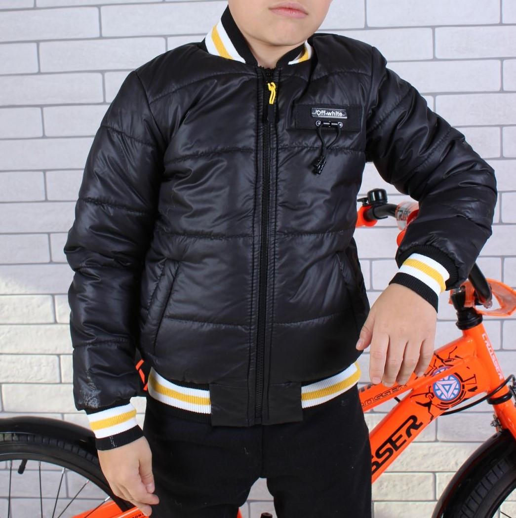 Куртка-бомбер демисезонная #45452 для мальчиков  9-10-11-12-13-14 лет (134-164 см). Черная. Оптом