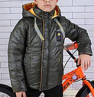 Куртка демисезонная #45451 для мальчиков  9-10-11-12-13-14 лет (134-164 см). Хаки. Оптом
