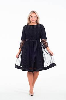 / Размер 44,46,48,50 / Женское романтичное платье Барби в полоску / цвет черный