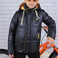 Куртка демисезонная #45451 для мальчиков  9-10-11-12-13-14 лет (134-164 см). Черная. Оптом