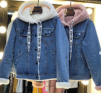 Куртка джинсовая с капюшоном, с мехом на кнопках