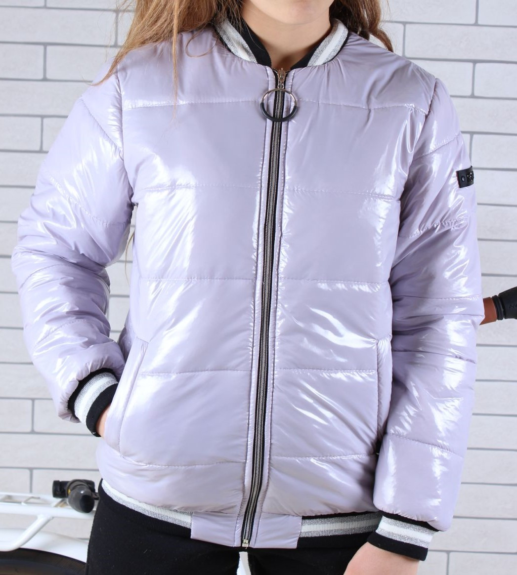 Куртка-бомбер демисезонная #45454 для девочек 9-10-11-12-13-14 лет (134-164 см). Сиреневая. Оптом