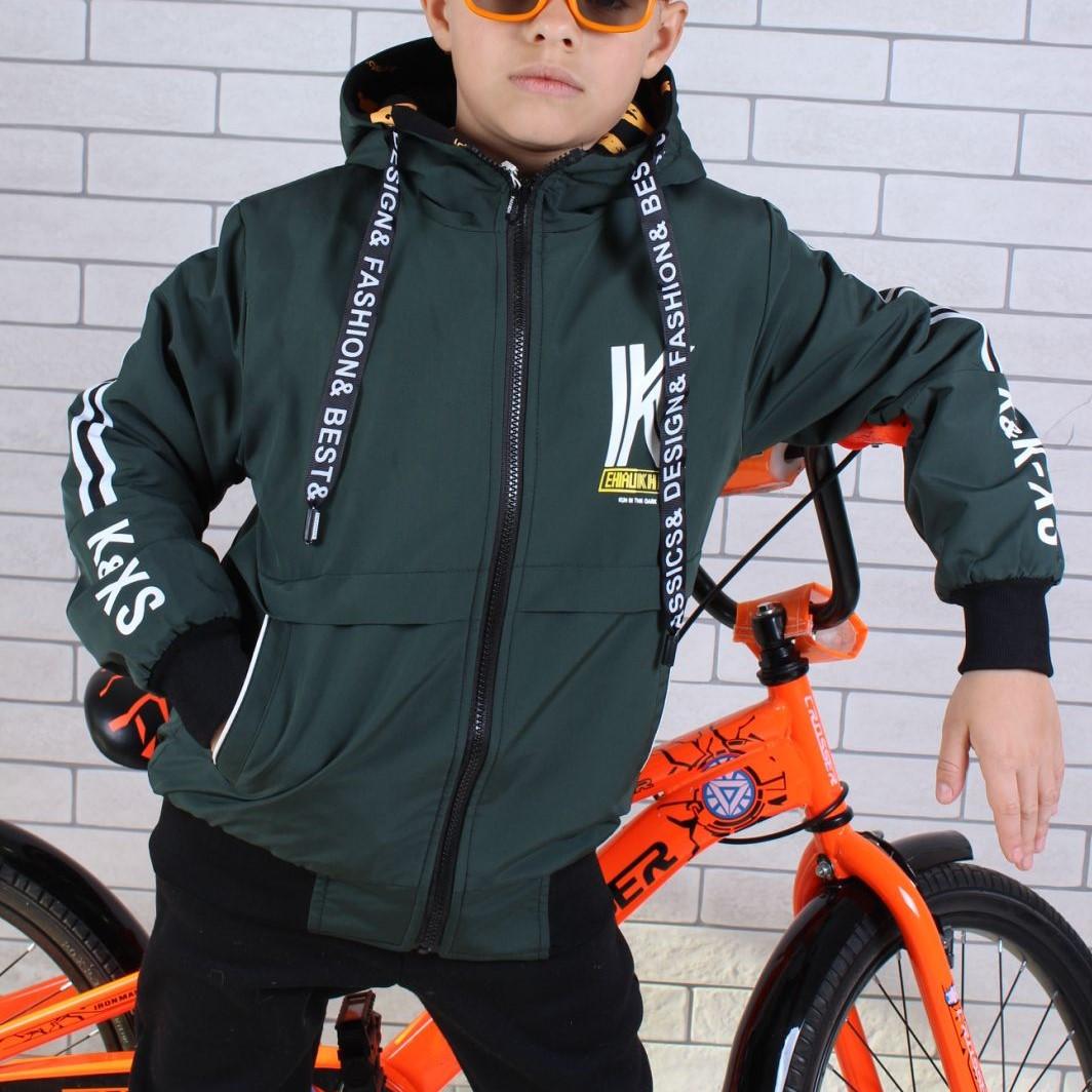 Куртка двухсторонняя! демисезонная #8825 для мальчиков  9-10-11-12 лет (134-152 см). Зеленая. Оптом