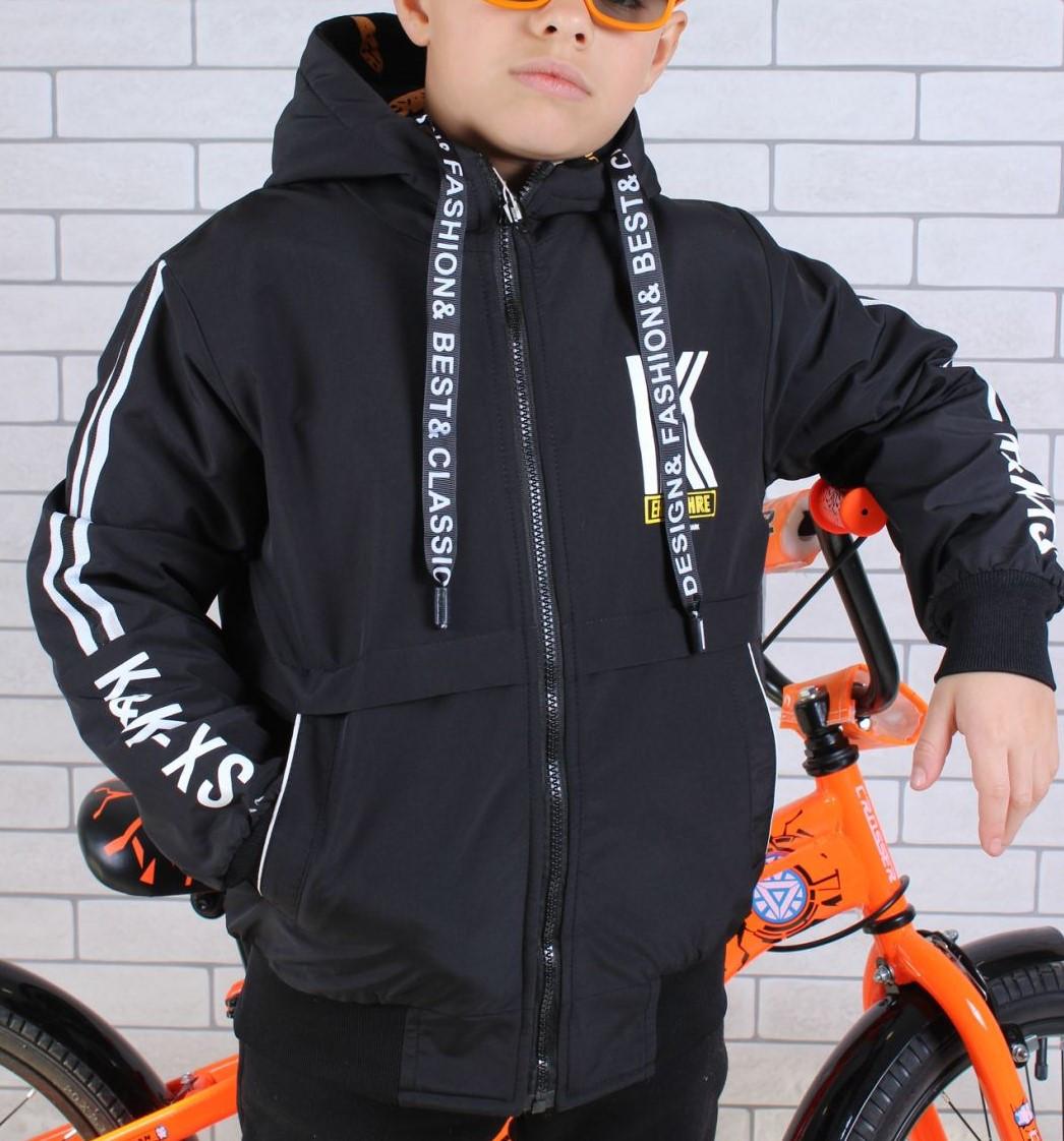 Куртка двухсторонняя! демисезонная #8825 для мальчиков  9-10-11-12 лет (134-152 см). Темно-синяя. Оптом