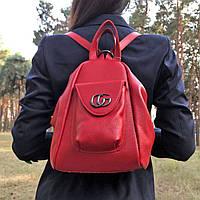 Женский кожаный красный рюкзак-сумка (701/1_RED)