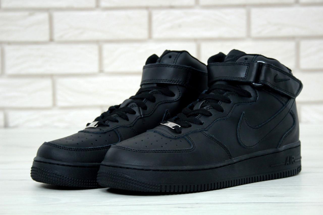 Мужские кроссовки Nike Air Force Force 1 High Classic Black. Натуральная кожа. [Размеры в наличии: 40,41,42,43,44,45]