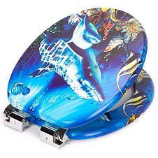 Сиденье для унитаза, микролифт, фанера, Natural style, стульчак  Dolphin, фото 3