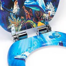 Сиденье для унитаза, микролифт, фанера, Natural style, стульчак  Dolphin, фото 2