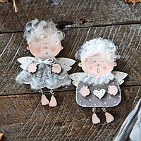 Новогодние деревянные украшения - 2 ангелочка