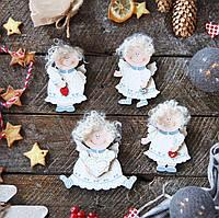 Новогодние деревянные украшения - Подвески-ангелочки
