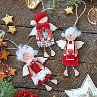 Новогодние украшения из дерева 3 ангела