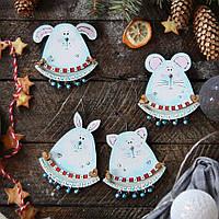 Новогодний деревянный декор - Весёлые зверюшки
