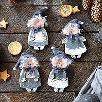 Новогодний деревянный декор на елку - 4 ангелочка