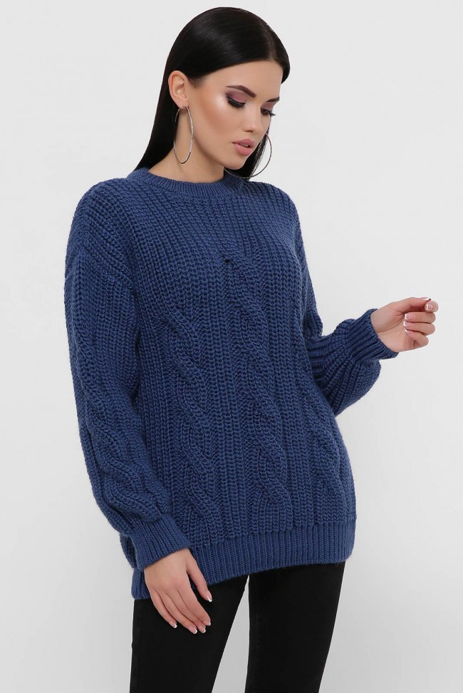 """Вязаный свитер большого размера цвета джинс """"IRMA"""""""
