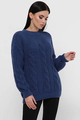 """Вязаный свитер большого размера цвета джинс """"IRMA"""", фото 2"""